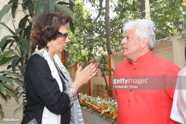 Socialite Bina Ramani and author Suhel Seth during a lunch party on the occasion of Bengali New Year hosted by the designer Pranay Baidya at D85 Dron...