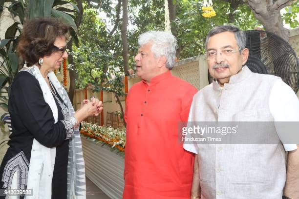 Socialite Bina Ramani and author Suhel Seth with Vinod Dua during a lunch party on the occasion of Bengali New Year hosted by the designer Pranay...