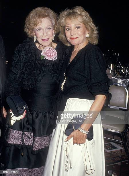 Socialite Brooke Astor and TV journalist Barbara Walters attend the New York HospitalCornell Medical Center's Cabaret '87 Fifth Annual Gala Benefit...