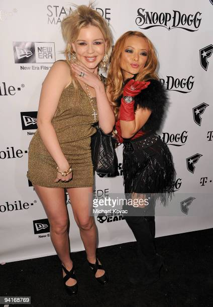 Socialite Casey Johnson and TV personality Tila Tequila arrive at the Famous Stars and Straps 10th Anniversary and Snoop Dogg 10th Album Release at...
