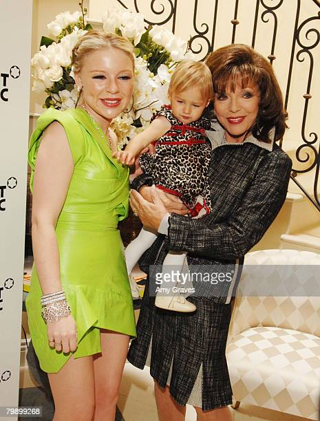 Socialite Casey Johnson her daughter Ava and Actress Joan Collins attend the Celebration Brunch for Inheriting Beauty and the Montblanc Jewelry...