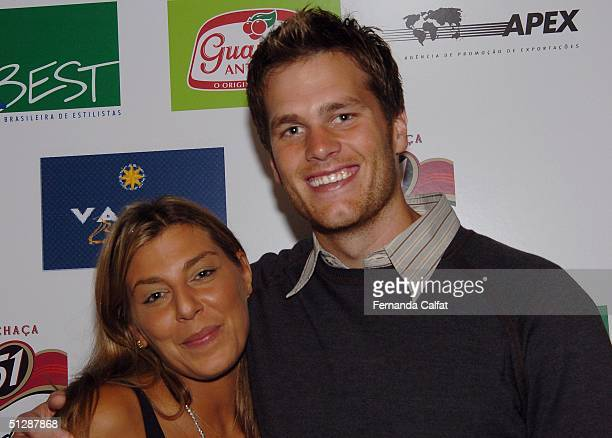Socialite Claudine de Matos and Quaterback Tom Brady attend the Rosa Cha After Party at The Marqui Club during the Olympus Fashion Week Spring 2005...
