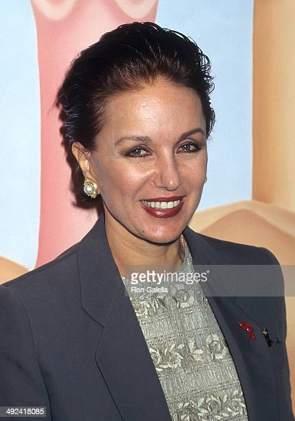 Socialite Della Rounick attends the opening night exhibition of her artwork Hermaphrodite on May 7 1997 at the New World Art Center in New York City