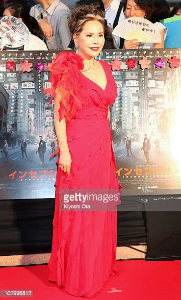 Socialite Dewi Sukarno poses on the red carpet during the 'Inception' Japan Premiere at Roppongi Hills on July 20 2010 in Tokyo Japan The film will...