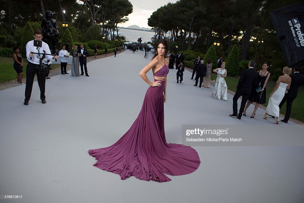 Socialite Kendal Jenner wearing a Calvin Klein dress attends the 22nd Gala for AmFar Cinema Against AIDS. Photographed for Paris Match at the Cap-Eden-Roc hotel on May 21, 2015 in Cap d'Antibes, France.