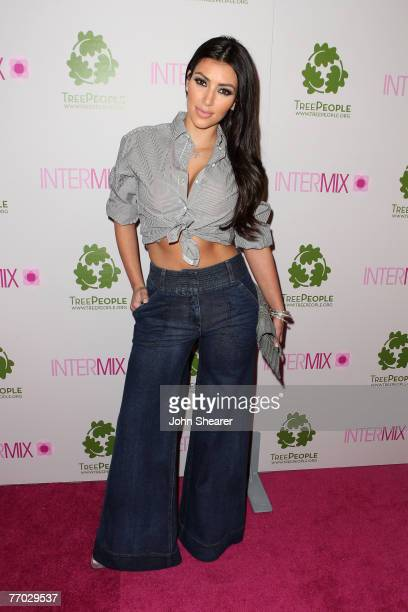 Socialite Kim Kardashian arrives at the opening of the Intermix store on Robertson Boulevard on September 25 2007 in Los Angeles California
