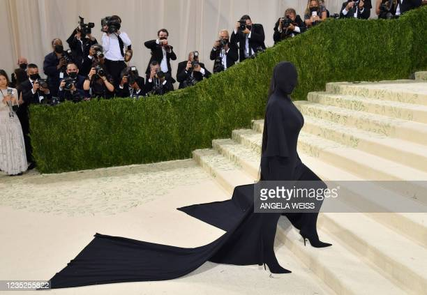 Socialite Kim Kardashian arrives for the 2021 Met Gala at the Metropolitan Museum of Art on September 13, 2021 in New York. - This year's Met Gala...