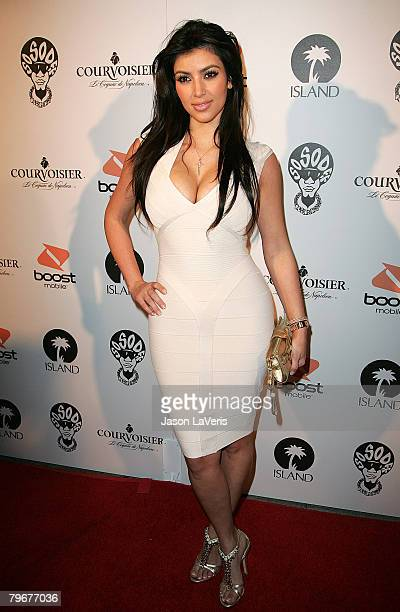 Socialite Kim Kardashian attends Jermaine Dupri's PreGrammy Party at Central Hollywood Lounge on February 8 2008 in Hollywood California