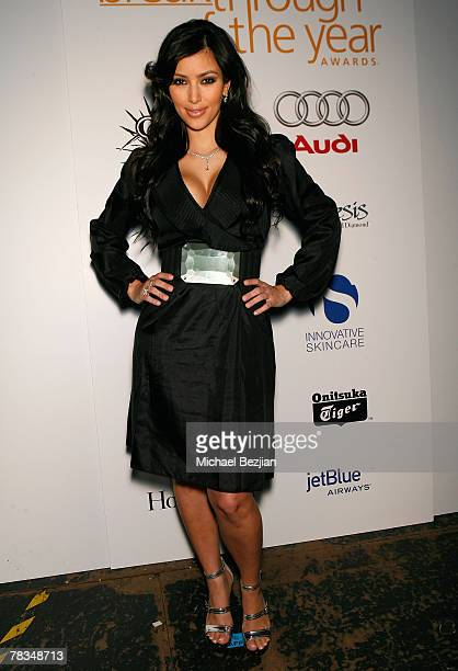 HOLLYWOOD DECEMBER 09 Socialite Kim Kardashian backstage at the 7th annual Hollywood Life Breakthrough of the Year Awards at the Music Box at the...