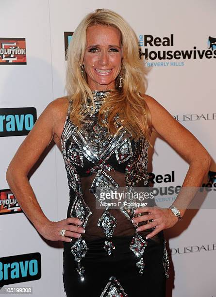 Socialite Kim Richards arrives at Bravo's The Real Housewives of Beverly Hills series party on October 11 2010 in West Hollywood California