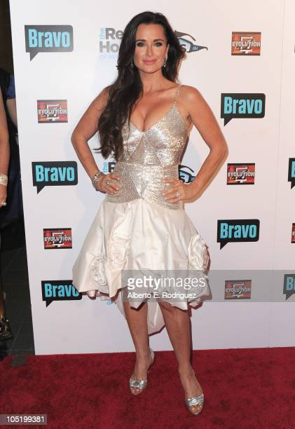 Socialite Kyle Richards arrives at Bravo's 'The Real Housewives of Beverly Hills' series party on October 11 2010 in West Hollywood California