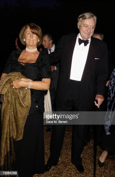 Socialite Lady Annabel Goldsmith and entrepreneur Mark Birley attend the Cartier Gala Evening at the Chelsea Physic Garden May 20 2003 in London...
