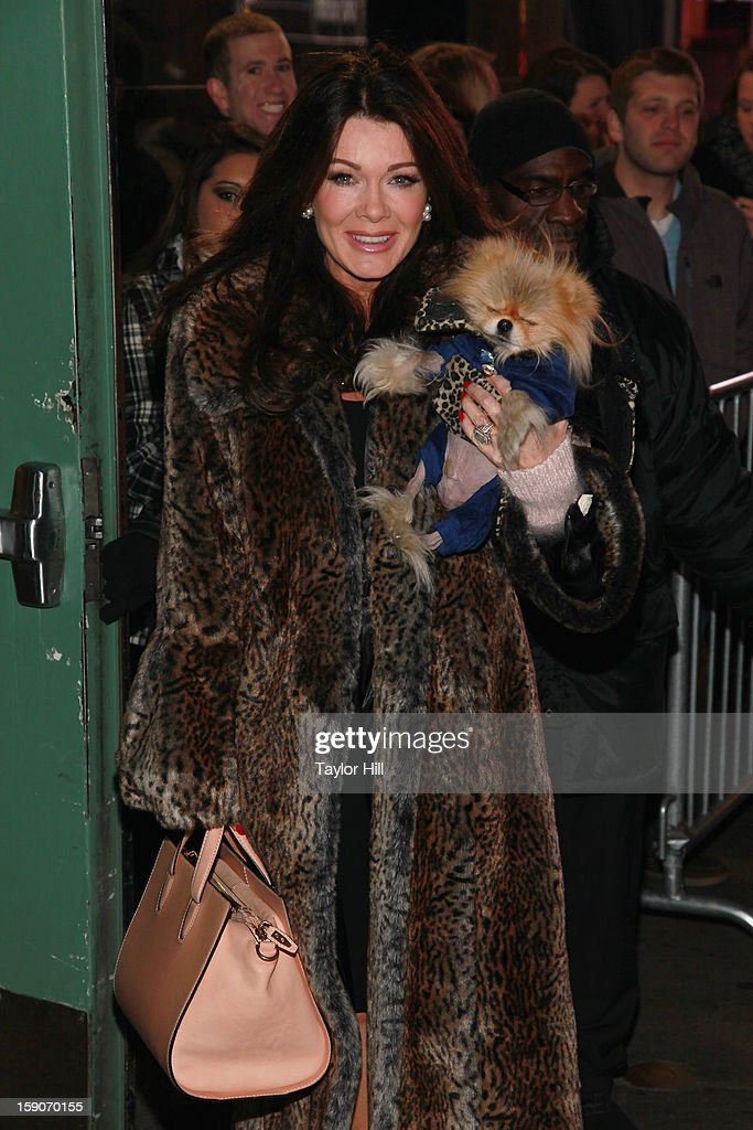 Socialite Lisa Vanderpump and Pomeranian Giggy Vanderpump visit ABC News' 'Good Morning America' Times Square Studio on January 7, 2013 in New York City.