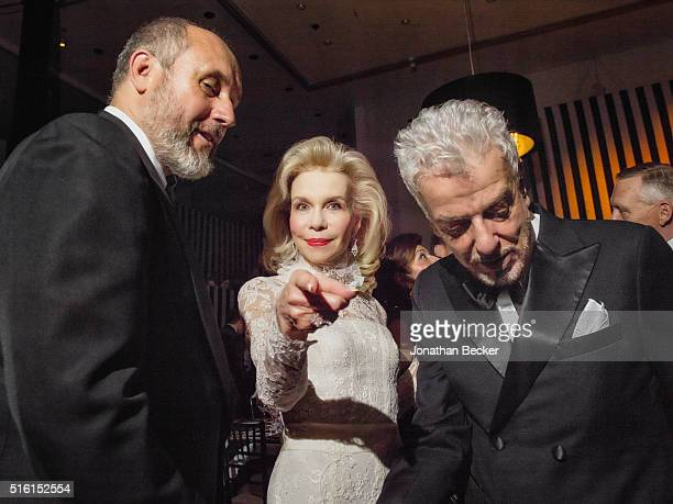 Socialite Lynn Wyatt is photographed with Peter Copping and Nicky Haslam for Vanity Fair Magazine on October 2 2015 on the occasion of her belated...