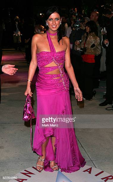 Socialite Nicky Hilton arrives at the Vanity Fair Oscar Party at Mortons on February 27 2005 in West Hollywood California