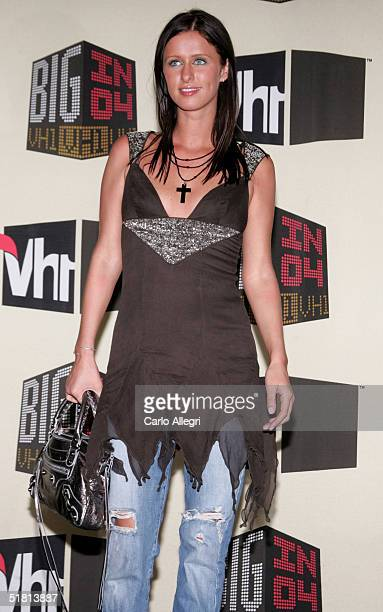 Socialite Nicky Hilton poses in the press room at the VH1 Big in 04 at the Shrine Auditorium on December 1 2004 in Los Angeles California