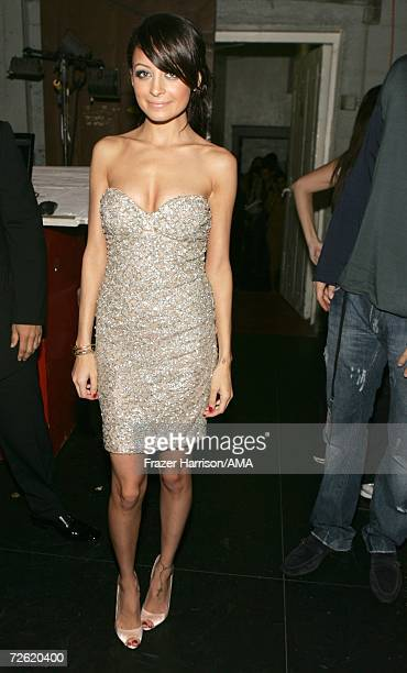 Socialite Nicole Richie poses backstage at the 2006 American Music Awards held at the Shrine Auditorium on November 21 2006 in Los Angeles California