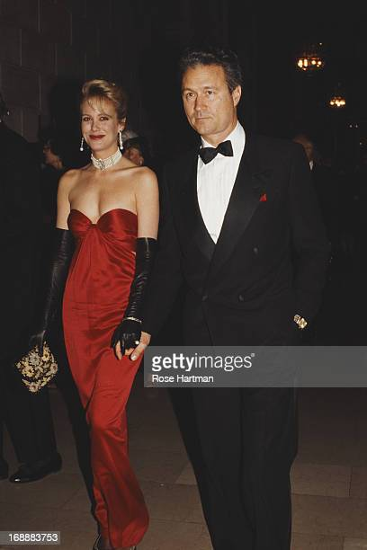 Socialite Nina Griscom with her husband plastic surgeon Dr Daniel Baker circa 1991