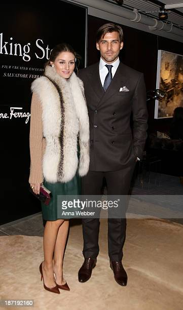 Socialite Olivia Palermo wearing Ferragamo Fall/Winter Collection and model Johannes Huebl arrive at Ferragamo and Stefano Tonchi Present A VIP...