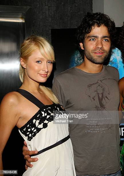Socialite Paris Hilton and Actor Adrian Grenier arrives at the 11th Hour Screening at Harmony Gold Theater on August 9 2007 in Hollywood California