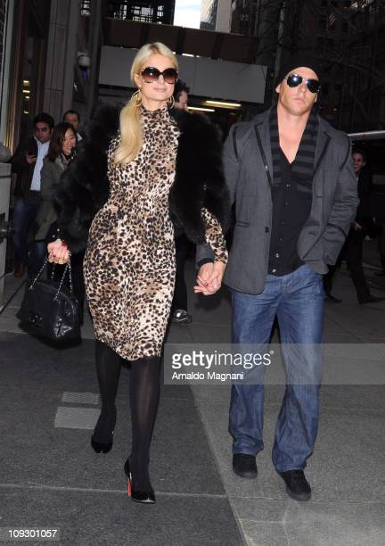 Socialite Paris Hilton and Cy Waits sighting on the streets of Manhattan on February 18 2011 in New York City