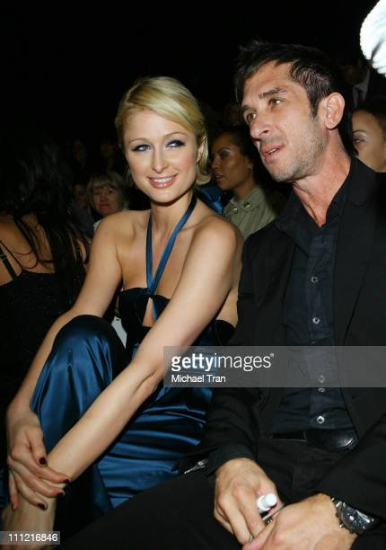 Socialite Paris Hilton and Davis Factor of Smashbox Studio Cosmetics front row at Petro Zillia Spring 2008 collection during Mercedes Benz Fashion...