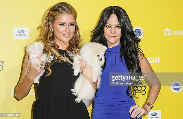 Socialite Paris Hilton and her dogs Princess Paris Jr and Prince Hilton and socialite Allison Melnick arrive at The World Dog Awards at Barker Hangar...