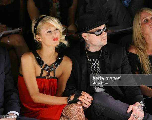 Socialite Paris Hilton and singer/boyfriend Benji Madden front row at Nicholai by Nicky Hilton Fall 2008 collection during Mercedes Benz LA Fashion...