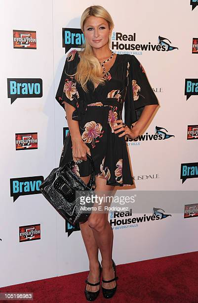 Socialite Paris Hilton arrives at Bravo's The Real Housewives of Beverly Hills series party on October 11 2010 in West Hollywood California
