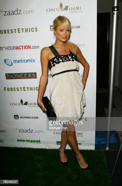 Socialite Paris Hilton arrives at the 11th Hour Screening at Harmony Gold Theater on August 9 2007 in Hollywood California