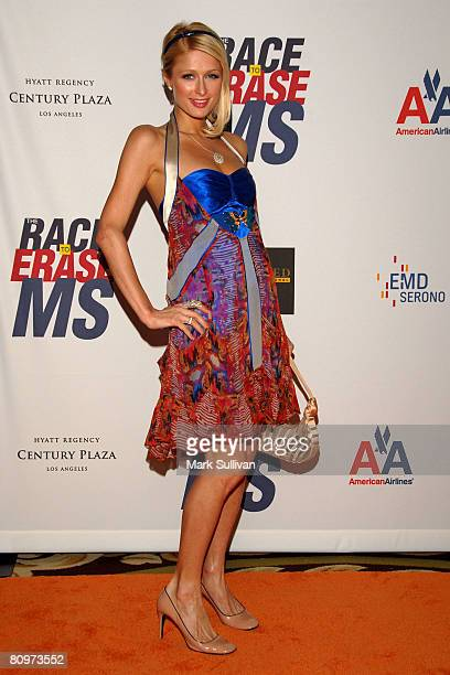 Socialite Paris Hilton arrives at the 15th Annual Race To Erase MS at the Century Plaza Hotel on May 2, 2008 in Century City, California.