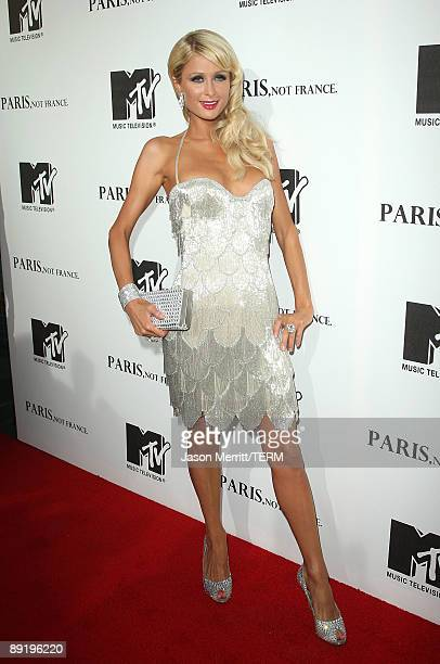 Socialite Paris Hilton arrives at the MTV screening of Paris Not France documentary at The Majestic Crest on July 22 2009 in Los Angeles California