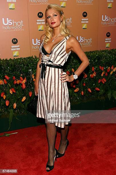 Socialite Paris Hilton arrives at the US Weekly Hot Hollywood Awards at the Republic Restaurant and Lounge on April 26 2006 in Los Angeles California