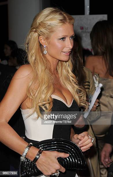 Socialite Paris Hilton arrives at the Us Weekly Hot Hollywood Style Issue celebration held at Drai's Hollywood at the W Hollywood Hotel on April 22...