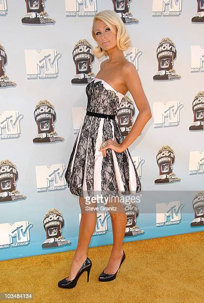 Socialite Paris Hilton arrives to the 2008 MTV Movie Awards on June 1 2008 at the Gibson Amphitheatre in Universal City California