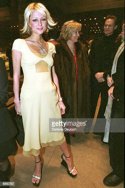 Socialite Paris Hilton attends the grand opening of Prada December 29 2001 in Aspen CO
