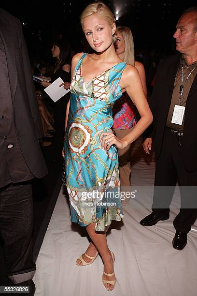 Socialite Paris Hilton in the front row at the Tommy Hilfiger Spring 2006 fashion show during Olympus Fashion Week at Bryant Park September 9 2005 in...