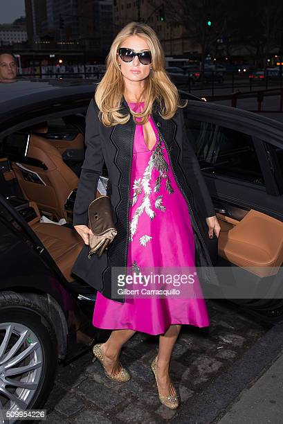 Socialite Paris Hilton is seen during Fall 2016 New York Fashion Week at Pier 59 Studios on February 12 2016 in New York City