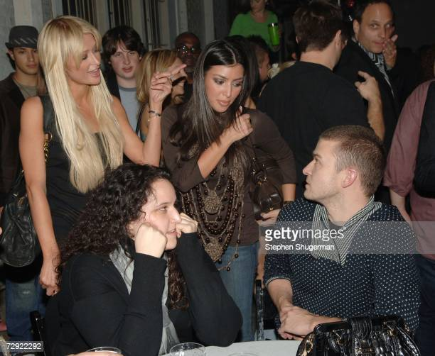 Socialite Paris Hilton, Kim Kardashian, guest and singer Justin Timberlake attend the after party following the premiere of Universal Pictures'...