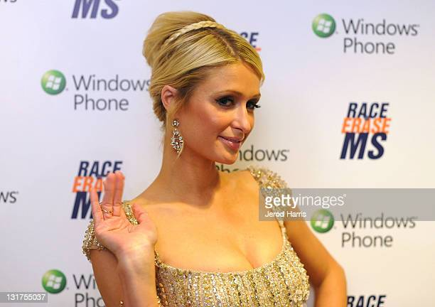Socialite Paris Hilton visits Windows Phone at the 18th Annual Race to Erase MS event co-chaired by Nancy Davis and Tommy Hilfiger at the Hyatt...