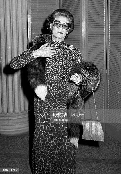 Socialite Pauline Trigere attending 'Costume Exhibit Fashions from the Hapsburg Era' on December 3 1979 at the Metropolitan Museum of Art in New York...