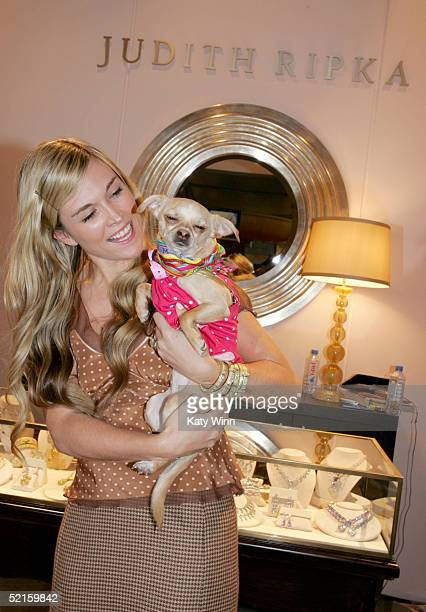 Socialite Tinsley Mortimer is seen carrying Lucy Anne in the Judith Ripka during Olympus Fashion Week Fall 2005 at Bryant Park February 8, 2005 in...