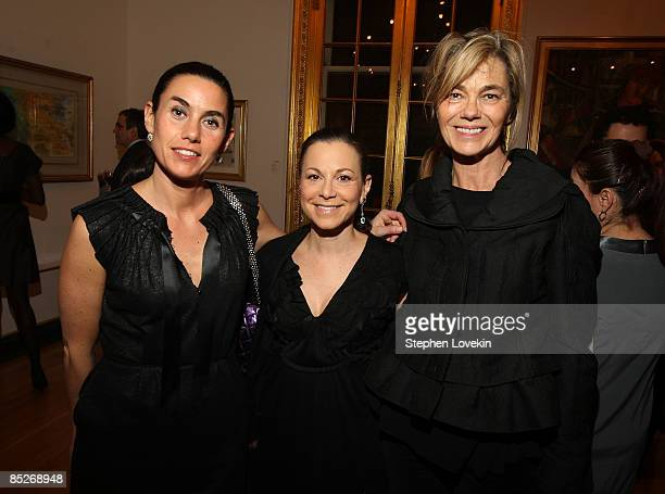 Socialites Charlotte Sarkozy Bettina Zilkha and Nadine Johnson attend a preview of the Gerard Oury Collection presented by Artcurial at the Payne...