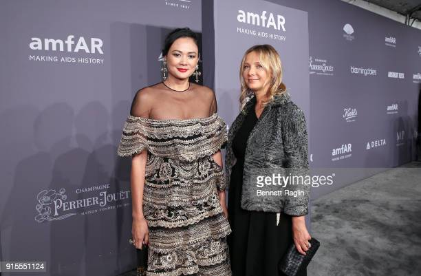 Socialites Criselda Breene and Tatiana Silva attends the AmfAR New York Gala 2018 at Cipriani Wall Street on February 7 2018 in New York City