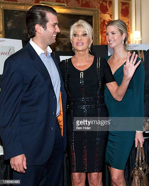 Socialites Donald Trump Jr Ivana Trump and Ivanka Trump attend the Ivana Living Legend Wine Collection launch at Ten East 64th Street on October 18...