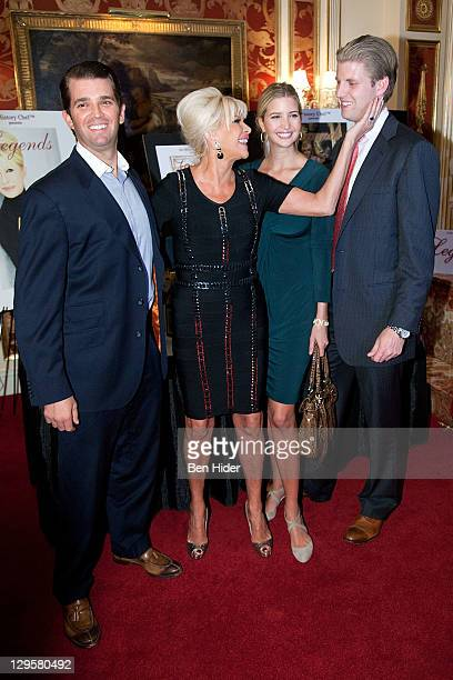 Socialites Donald Trump Jr Ivana Trump Ivanka Trump and Eric Trump attend the Ivana Living Legend Wine Collection launch at Ten East 64th Street on...