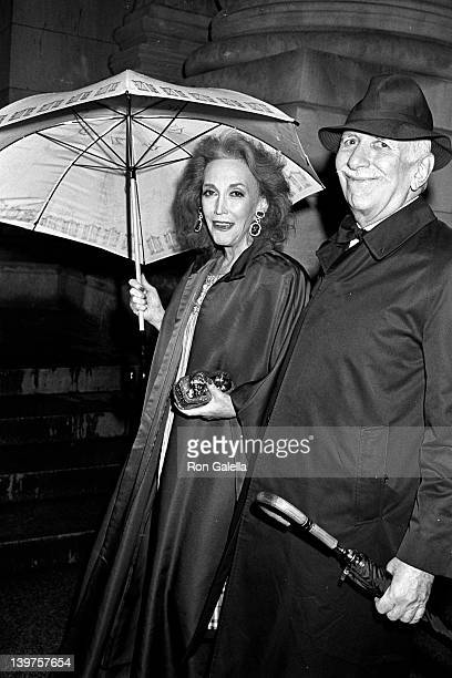 Socialites Helen Gurley Brown and David Brown attend Laura Steinberg & Jonathan Tisch Wedding Reception on April 18, 1988 at the Metropolitan Museum...