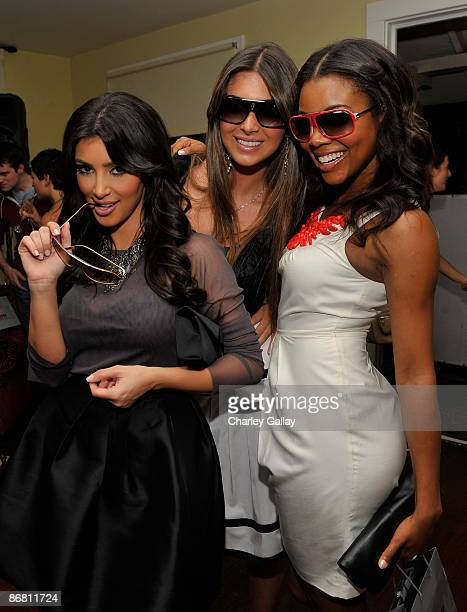 Socialites Kim Kardashian and Brittny Gastineau and actress Gabrielle Union attend the Carrera Vintage Sunglasses LA launch party at Chateau Marmont...