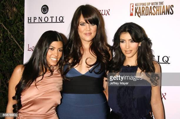 "Socialites Kourtney Kardashian, Khloe Kardahian and Kim Kardashian arrive to the season 2 launch party ""Keeping Up With The Kardashians"" at Les Deux..."