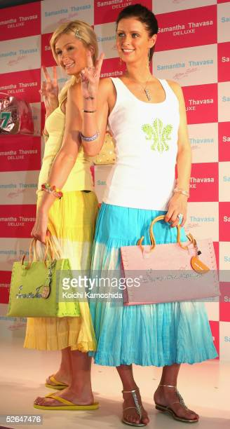 Socialites Paris and Nicky Hilton attend the opening ceremony of the Samantha Thavasa DELUXE shop in Omotesando one of the Tokyo's popular shopping...